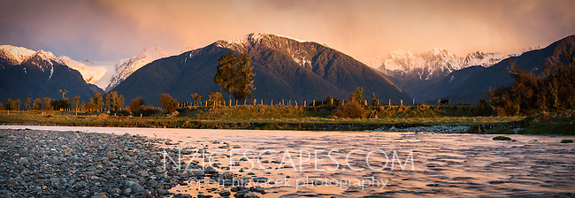 Sunset over Southern Alps with Fox River and Fox Glacier in view, Westland Tai Poutini National Park, West Coast, South Westland,  New Zealand, NZ
