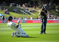 Jeet Raval stretches before going out to bat on Day One of the first test between the New Zealand Black Caps and South Africa Proteas at Hawkins Basin Reserve in Wellington, New Zealand on Thursday, 16 March 2017. Photo: Dave Lintott / lintottphoto.co.nz
