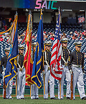 11 September 2016: The USNA Color Guard arrives on the field for Heroes Day pre-game honors prior to a game between the Washington Nationals and the Philadelphia Phillies at Nationals Park in Washington, DC. The Nationals edged out the Phillies 3-2 to take the rubber match of their 3-game series. Mandatory Credit: Ed Wolfstein Photo *** RAW (NEF) Image File Available ***