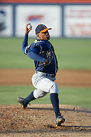 Ricky Romero of the Cal State Fullerton Titans pitches during a 2004 season game at Goodwin Field in Fullerton, California. (Larry Goren/Four Seam Images)