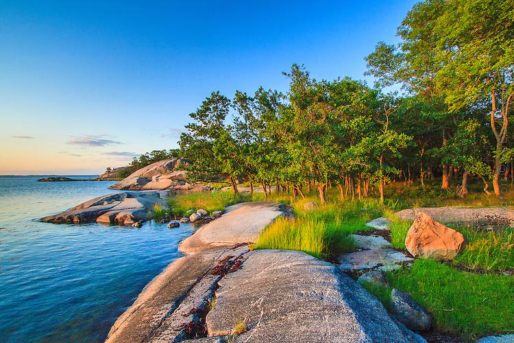 Solvarm klipphäll Biskopsö i Stockholms skärgård. / Stockholms archipelago Sweden.