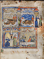 """(Up) Amnon tricks Tamar to lie in bed with him. Amnon's love for Tamar turns to hatred and he forces her to leave in humiliation; (Down) Tamar laments her misfortune in Absalom's house while Absalom's servants kill Amnon at a feast held for David's sons. (2 Samuel 13 1-29). Excerpt of the first edition of the """"Crusader Bible"""", 13th century manuscript kept in the Pierpont Morgan Library in New York, on natural parchment made of animal skin published by Scriptorium SL in Valencia, Spain. © Scriptorium / Manuel Cohen"""