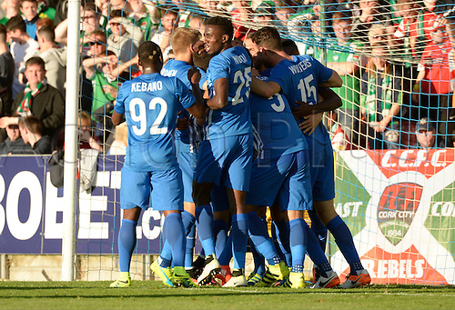 04.08.2016. Cork, Ireland. UEFA, Europa League football qualification round. Cork City versus Racing Genk.  Thomas Buffel forward of Krc Genk celebrates with teammates after scoring  the games first goal in the 12th minute