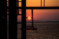 Sunset from the Mary Maersk, the largest container ship in the world.
