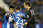 CD Leganes' Unai Bustinza have words with the referee Melero Lopez during La Liga match. December 3,2016. (ALTERPHOTOS/Acero)
