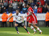 9th September 2017, Macron Stadium, Bolton, England; EFL Championship football, Bolton Wanderers versus Middlesbrough; Filipe Morais of Bolton closes down Cyrus Christie of Middlesbrough