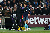 Tottenham Hotspur manager Mauricio Pochettino congratulates Son Heung-Min of Tottenham Hotspur after scoring the opening goal during West Ham United vs Tottenham Hotspur, Caraboa Cup Football at The London Stadium on 31st October 2018