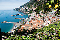 View of Amalfi from 'Parco delle Zagare' lemon grove at Capo di Croce, Amalfi Coast, Italy