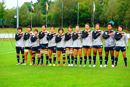23.08.2015. Dublin, Ireland. Women's Sevens Series Qualifier 2015. Japan versus Ireland<br /> The Japanese team sing their national anthem before the cup final.
