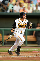Jacksonville Suns first baseman Viosergy Rosa (44) hits a three run home run in the bottom of the first inning during game three of the Southern League Championship Series against the Chattanooga Lookouts on September 12, 2014 at Bragan Field in Jacksonville, Florida.  Rosa was named the series Most Valuable Player as Jacksonville defeated Chattanooga 6-1 to sweep three games to none.  (Mike Janes/Four Seam Images)