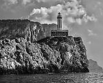 Punta Carena Lighthouse on the southwestern tip of Capri off the Amalfi Coast of Italy.