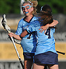 Kendall Fressle #7, left, and Lindsay Dean #4 of Our Lady of Mercy Adamemy celebrate after a goal in the second half of the Nassau-Suffolk CHSAA varsity girls lacrosse Class AA final against St. Dominic at Adelphi University on Thursday, May 18, 2017. OLMA won by a score of 10-6.