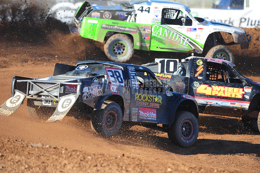 Apr 16, 2011; Surprise, AZ USA; LOORRS driver Brian Deegan (38) in traffic during round 3 at Speedworld Off Road Park. Mandatory Credit: Mark J. Rebilas-