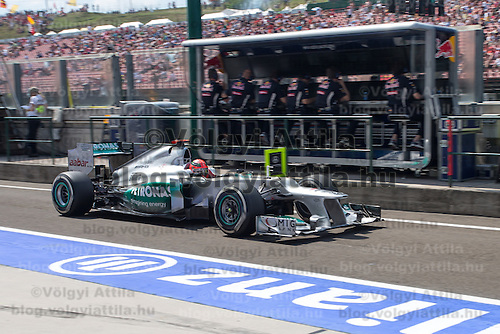 Mercedes Formula One driver Michael Schumacher of Germany participates the free practice session of the Hungarian F1 Grand Prix in Mogyorod (about 20km north-east from Budapest), Hungary. Friday, 27. July 2012. ATTILA VOLGYI