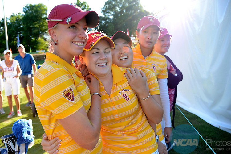24 MAY 2013: The University of Southern California celebrates their victory following the Division I Women's Golf Championship takes place at the University of Georgia Golf Course in Athens, GA.  USC won the team national title with a -19 score.  Jamie Schwaberow/NCAA Photos