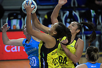 Aliyah Dunn takes a rebound during the ANZ Premiership netball match between the Central Pulse and Southern Steel at Te Rauparaha Arena in Wellington, New Zealand on Wednesday, 30 May 2018. Photo: Dave Lintott / lintottphoto.co.nz