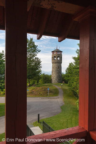Stone Fire Tower at John Wingate Weeks Estate on the summit of Mt. Prospect in Lancaster, New Hampshire USA. The Mount Prospect Tower was built by John W. Weeks in 1912 and is still in operation today
