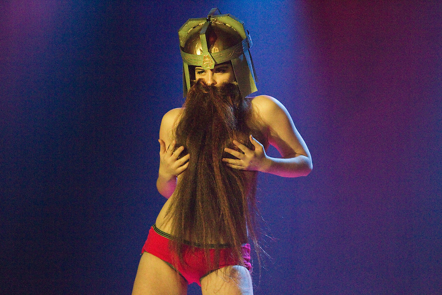 "Sophie Maltease, as a bearded dwarf performs as Gimli, from ""Lord of the Rings"" at Geekleseque Sallies Fourth at the Star Theater in Portland."