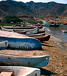 Beached fishing boats on the shore. Santa Marta, Colombia, Caribbean. 1976