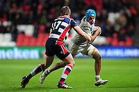 Zach Mercer of Bath Rugby goes on the attack. European Rugby Challenge Cup match, between Bristol Rugby and Bath Rugby on January 13, 2017 at Ashton Gate Stadium in Bristol, England. Photo by: Patrick Khachfe / Onside Images