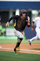 Bradenton Marauders second baseman Mitchell Tolman (5) runs home during the first game of a doubleheader against the Tampa Yankees on April 13, 2017 at George M. Steinbrenner Field in Tampa, Florida.  Bradenton defeated Tampa 4-1.  (Mike Janes/Four Seam Images)