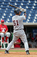 Detroit Tigers second baseman Carlos Guillen #51 at bat during an Instructional League game against the Philadelphia Phillies at Bright House Field on October 10, 2011 in Clearwater, Florida.  Guillen is rehabbing in the fall league for a strained right calf finishing 0-3 as designated hitter.  (Mike Janes/Four Seam Images)