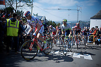 Dmitry Kozontchuk (RUS/Katusha) proceeds Simon Yates (GBR/Orica-GreenEDGE) up the infamous Mur de Huy (1300m/9.8%)<br /> <br /> 79th Flèche Wallonne 2015