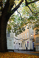 Street scene in Autumn, Bath, UK, October 17, 2007. The city of Bath is famed for it's hot springs (the only in the UK) and it's Georgian architecture. The city is a UNESCO World Heritage Site.