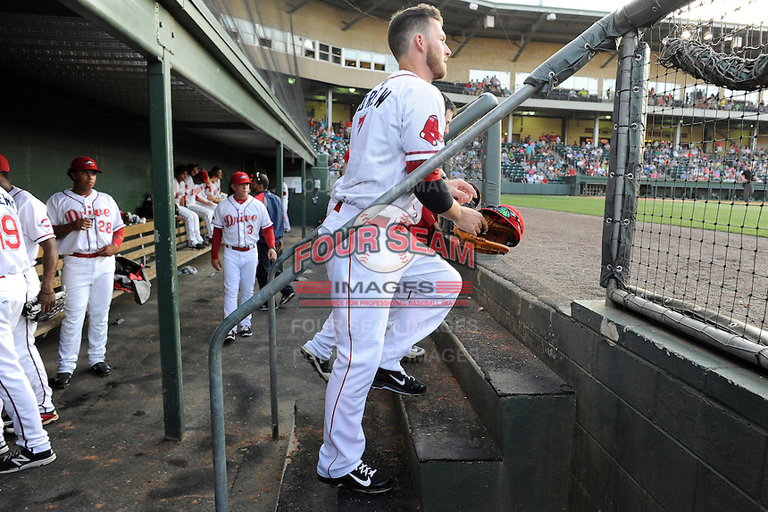 Boston Red Sox shortstop Stephen Drew (7) heads out to the field for the Class A Greenville Drive on a tuneup assignment in a game against the Augusta GreenJackets on Friday, May 23, 2014, at Fluor Field at the West End in Greenville, South Carolina. (Tom Priddy/Four Seam Images)
