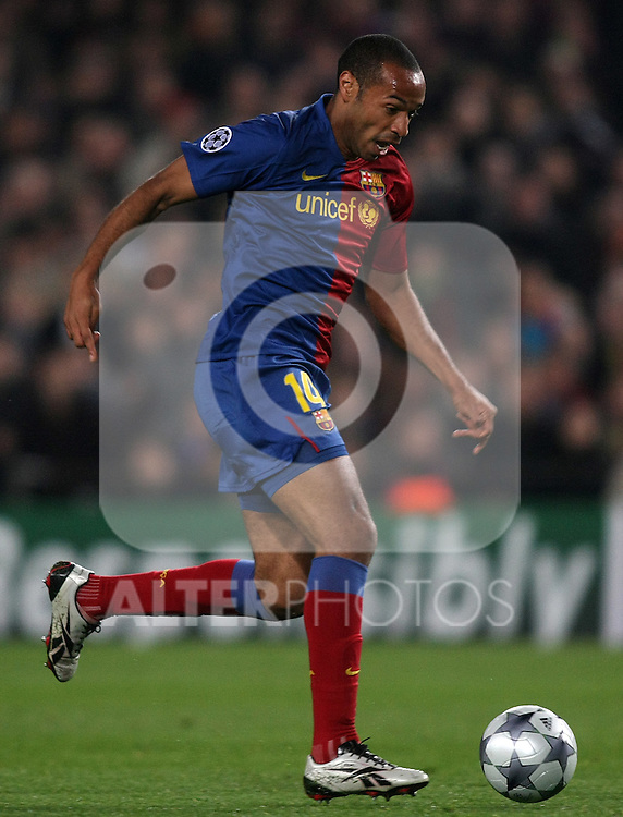 FC Barcelona's Thierry Henry during the UEFA Champiosn League match.March 11 2009. (ALTERPHOTOS/Acero).