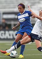 Boston Breakers forward Sydney Leroux (2) attempts to redirect on goal a crossed ball. In a National Women's Soccer League (NWSL) match, Seattle Reign FC (white) defeated Boston Breakers (blue), 2-1, at Dilboy Stadium on June 26, 2013.