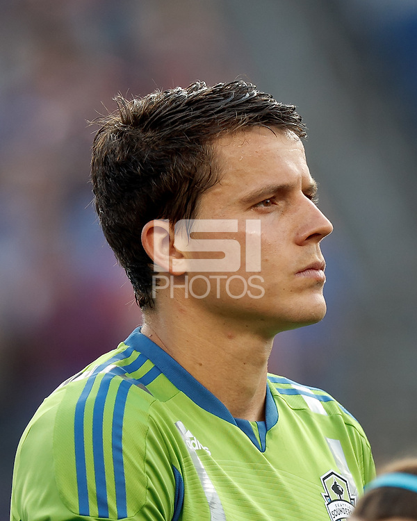 Seattle Sounders FC defender Marc Burch (8). In a Major League Soccer (MLS) match, the New England Revolution tied the Seattle Sounders FC, 2-2, at Gillette Stadium on June 30, 2012.