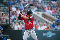 Billings Mustangs third baseman Juan Martinez (18) at bat during a Pioneer League game against the Ogden Raptors at Lindquist Field on August 17, 2018 in Ogden, Utah. The Billings Mustangs defeated the Ogden Raptors by a score of 6-3. (Zachary Lucy/Four Seam Images)