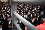Masses of Ultra-Orthodox Jews are seen at a rally in Jerusalem. More than 2,000 ultra-Orthodox protestors demonstrated Thursday , demanding that the Egged bus company introduce more segregated buses in the capital. Photo By : Emil Salman / JINI