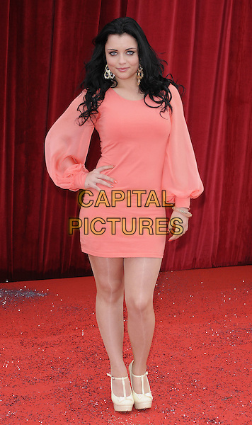 SHONA McGARTY .At the British Soap Awards 2011, Granada TV Studios, Manchester, England, UK, MaY 14th 2011..arrivals full length orange coral long sleeve dress  mini t-bar platform beige cream shoes hand on hip .CAP/CAN.©Can Nguyen/Capital Pictures.