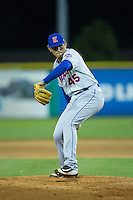 Kingsport Mets relief pitcher Gregorix Estevez (45) in action against the Burlington Royals at Burlington Athletic Stadium on July 18, 2016 in Burlington, North Carolina.  The Royals defeated the Mets 8-2.  (Brian Westerholt/Four Seam Images)