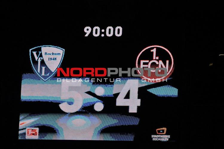 16.09.2016, Vonovia Ruhrstadion , Bochum, GER, 2.FBL., VfL Bochum vs. FC Nuernberg  <br /> im Bild / picture shows: <br /> <br /> Endstand 5:4 f&uuml;r Bochum <br /> <br /> <br /> Foto &copy; nordphoto / Meuter