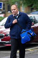 COPY BY TOM BEDFORD<br /> Pictured: Craig Dewar arrives at Newport Crown Court, Wales, UK. Monday 19 August 2019<br /> Re: A jealous husband who kidnapped a love rival in a 'carjacking' when he discovered he had a passionate affair with his social worker wife, is due to be sentenced by Newport Crown Court, Wales, UK.<br /> Craig Dewar was accused of abducting John Hawkins in Blaenavon after finding out Zoe Dewar had cheated on him behind his back with a work colleague.<br /> The complainant met while working together as community support workers for Blaenau Gwent Social Services.<br /> Craig Dewar, 34, followed Mr Hawkins, muscled his way into his van after overtaking him and slamming on the breaks, forcing him to stop sharply and blocking his path.