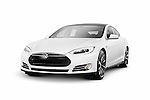 White 2014 Tesla Model S luxury electric car premium sedan isolated on white background with clipping path