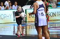 24.02.2018 Action during the Malawi v Fiji Taini Jamison Trophy netball match at the North Shore Events Centre in Auckland. Mandatory Photo Credit ©Michael Bradley.