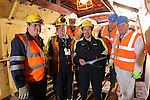 SSE Barge Restoration.Dave Binding, Malcolm White and Bev Friend from SSE with Wyn Mitchell, Richard Dommett MBE and Roger Francis from Monmouth, Brecon and Abergavenny Canal Trust..Uskmouth Power Station.01.03.12.©STEVE POPE