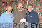 CHEQUE: John O'Connor president of Tralee Bridge Club, Tralee presented a cheque $1,220 to Ted Moynihan chairman of the Kerry Hospice Foundation on Monday night at their club, Tralee also at the presentation was Billy Mullins (Tralee Bridge Club)..