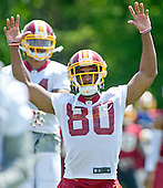 Washington Redskins wide receiver Jamison Crowder (80) participates  in an organized team activity (OTA) at Redskins Park in Ashburn, Virginia on Wednesday, May 25, 2015.<br /> Credit: Ron Sachs / CNP
