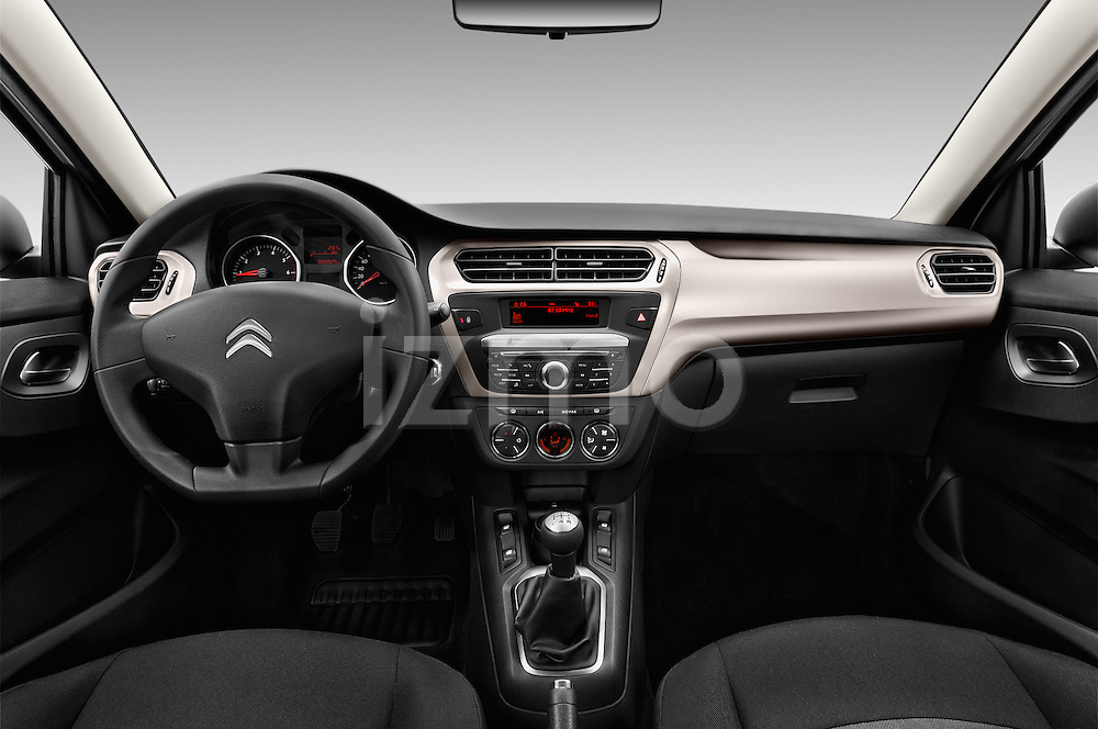Stock photo of straight dashboard view of 2016 Citroen C-Elysee Confort 4 Door Sedan Dashboard