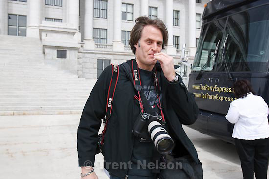 Trent Nelson     The Salt Lake Tribune.Salt Lake City - The Tea Party Express made a stop at the Utah State Capitol Tuesday, March 30, 2010. keith johnson