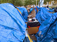 "USA. New York City. Occupy Wall Street (OWS) is a people-powered movement that began on September 17, 2011 in Liberty Square in the Wall Street financial district of Manhattan. The protesters have created a small campsite at the Zuccotti Park site. OWS and has spread to over 100 cities in the United States and actions in over 1,500 cities globally. OWS is mainly protesting social and economic inequality, corporate greed, corruption and influence over government—particularly from the financial services sector—and lobbyists.  It is fighting back against the corrosive power of major banks and multinational corporations over the democratic process, and the role of Wall Street in creating an economic collapse that has caused the greatest recession in generations. The protesters' slogan, ""We are the 99%"", refers to the difference in wealth and income growth in the U.S. between the wealthiest 1% and the rest of the population. OWS aims to expose how the richest 1% of people are writing the rules of an unfair global economy that is foreclosing on our future. OWS has being organized using a non-binding consensus based collective decision making tool known as a ""people's assembly"". A man and a woman talks together surrounded by blue tents. 22.10.2011 © 2011 Didier Ruef"