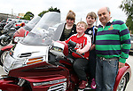 """Ronan, Peter, Jane and Des O'Callaghan before the """"Run of the Country"""" Motorcycle fundraiser at St.Itas school...(Photo credit should read Jenny Matthews www.newsfile.ie)....This Picture has been sent you under the conditions enclosed by:.Newsfile Ltd..The Studio,.Millmount Abbey,.Drogheda,.Co Meath..Ireland..Tel: +353(0)41-9871240.Fax: +353(0)41-9871260.GSM: +353(0)86-2500958.email: pictures@newsfile.ie.www.newsfile.ie."""