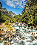 The Hollyford River / Whakatipu Kā Tuka in the Fiordlands National Park, New Zealand