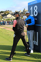 Bernd Wiesberger (AUT) and Rafa Cabrera Bello (ESP) on the 18th tee during Round 3 of the Alfred Dunhill Links Championship 2019 at St. Andrews Golf CLub, Fife, Scotland. 28/09/2019.<br /> Picture Thos Caffrey / Golffile.ie<br /> <br /> All photo usage must carry mandatory copyright credit (© Golffile | Thos Caffrey)