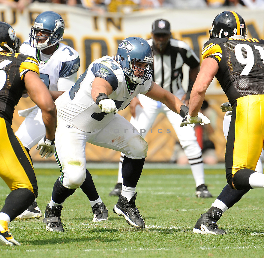 JOHN MOFFITT, of the Seattle Seahawks, in action during the Seahawks game against the Pittsburgh Steelers on September 18, 2011 at Heinz Field in Pittsburgh, PA. The Steelers beat the Seahawks 24-0.